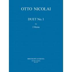 Nicolai, Otto Carl Ehrenfried: Duett Nr.1 : f├╝r 2 H├Ârner Spielpartitur