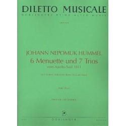 Hummel, Johann Nepomuk: 6 Menuette und Trios vom Apollosaal 1811 : für 2 Violinen und Violoncello (Viola ad lib.) Partitur und