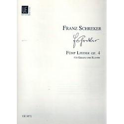 Schreker, Franz: 5 Lieder op.4 : für hohe Singstimme und Klavier