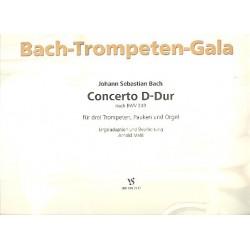 Bach, Johann Sebastian: Concerto D-Dur nach BWV249 : f├╝r 3 Trompeten, Pauken und Orgel, Partitur und Stimmen Mehl, Arnold,