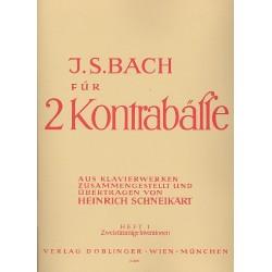 Bach, Johann Sebastian: Bach für 2 Kontrabässe Band 1 : Zweistimmige Inventionen Partitur