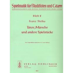 Stetka, Franz: Tänze Märsche und andere Spielstücke Band 2 : für 3 Sopranblockflöten und Gitarre Partitur