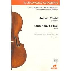 Vivaldi, Antonio: Konzert c-Moll Nr.4 RV401 : für Violoncello solo, 2 Violinen, Viola und Bc Partitur (Bc nicht ausgesetzt)