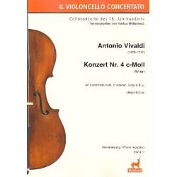 Vivaldi, Antonio: Konzert c-Moll Nr.4 RV401 für Violoncello solo, 2 Violinen, Viola und Bc : für Violoncello und Klavier