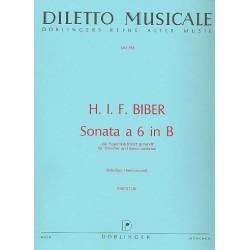 Biber, Heinrich Ignaz Franz von: Sonata a 6 B-Dur : für Violine solo, 2 Violinen, 2 Violen, Kontrabaß und Bc Partitur