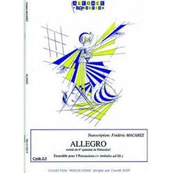 Macarez, Frédéric: Allegro pour 5 percussions et timbales ad lib, partition te parties