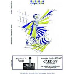Guillot, Pierre: Cardiff : pour ensemble de 3 percussionnistes avec vibraphone solo, partition et parties