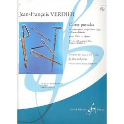 Verdier, Jean-Francois: Cartes postales (+CD) : 32 petites pieces originales et faciles en forme d'etudes pour flute et piano