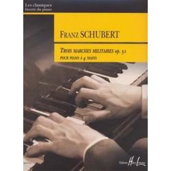 Schubert, Franz: 3 marches militaires op.51 : pour piano a 4 mains
