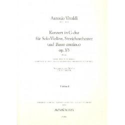 Vivaldi, Antonio: Konzert G-Dur op.3,3 PV96 : f├╝r Violine solo, Streichorchester und bc, Streicherset (3-3-2-3)