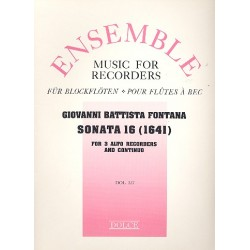 Fontana, Giovanni Battista: Sonata no.16 : for 3 alto recorders and bc parts