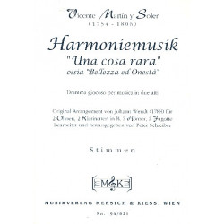 Martin y Soler, Vicente: Harmoniemusik Una Cosa Rara für 2 Oboen, 2 Klarinetten, 2 Hörner und 2 Fagotte, Stimmen