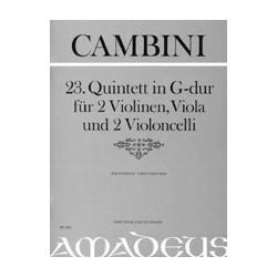 Cambini, Giuseppe Maria Gioaccino: Quintett G-Dur Nr.23 : f├╝r 2 Violinen, Viola und 2 Violoncelli, Partitur und Stimmen