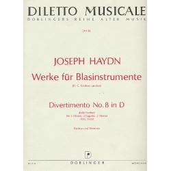 Haydn, Franz Joseph: Divertimento für 2 Hörner, 2 Fagotte und 2 Oboen Partitur und Stimmen