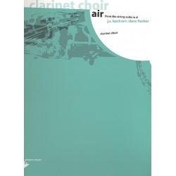 Bach, Johann Sebastian: Air from the string suite d major for clarinet choir, piano, bass, score+parts Fischer, C., arr.