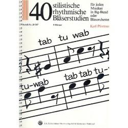 Pfortner, Karl: 40 stilistische rhythmische Bläserstudien : für F-Horn für jeden Musiker in Big-Band oder Blasorchester