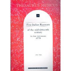 5 Italian ricercars of the mid-sixteenth century score