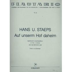 Staeps, Hans Ulrich: Auf unserem Hof daheim : Spielmusik für 3 Blockflöten (AAT) über das böhmische Lied Partitur und Stimmen
