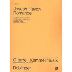Haydn, Franz Joseph: Romance aus dem Lirenkonzert Nr.3 : für Blockflöten und Gitarren