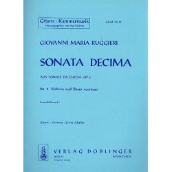 Ruggieri, Giovanni Maria: Sonata decima aus 'Sonate da chiesa op.3' : für 2 Violinen, Violoncello und Gitarre
