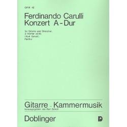 Carulli, Ferdinando: Konzert A-Dur : für Gitarre und Streicher, 2 Hörner ad lib. Partitur