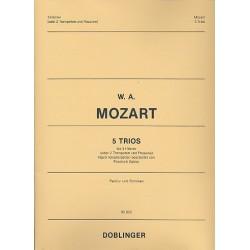 Mozart, Wolfgang Amadeus: 5 Trios nach Vokal-Terzetten : für 3 Hörner Partitur und Stimmen