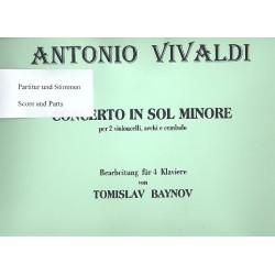 Vivaldi, Antonio: Konzert g-Moll für 2 Violoncelli, Streicher und Cembalo : für 4 Klaviere Partitur und Stimmen