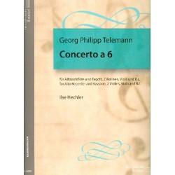 Telemann, Georg Philipp: Concerto a 6 für Altblockflöte, Fagott, 2 Violinen, Viola und Bc Partitur und 7 Stimmen