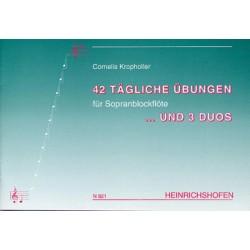 Kropholler, Cornelis: Tägliche Übungen und 3 Duos Band 2: für Sopranblockflöten