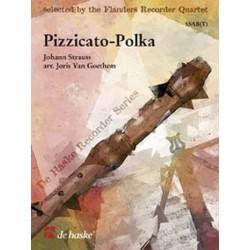 Strauß, Johann (Sohn): Pizzicato-Polka : für 4 Blockflöten (SSAB), Partitur und Stimmen
