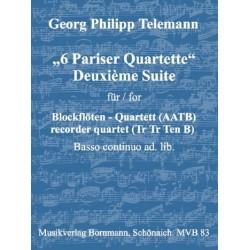 Telemann, Georg Philipp: Deuxième Suite aus 6 Pariser Quartette : für 4 Blockflöten (AATB) und Bc ad lib.