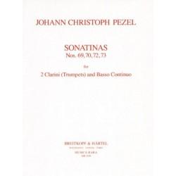 Pezel, Johann Christoph: Sonatinen Nr.69, 70, 72 und 73 für 2 Clarinen (Trompeten) und Bc Partitur mit Stimmen
