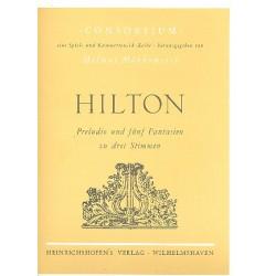 Hilton, John: Preludio und 5 Fantasien : f├╝r 3 Blockfl├Âten (SSB/SSA) Partitur und Stimmen