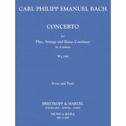Bach, Carl Philipp Emanuel: Konzert a-Moll WQ166 für Flöte, Streicher und Bc. Partitur und Stimmen
