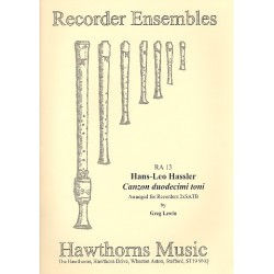 Hassler, Hans Leo: Canzon duodecimi toni : for 8 recorders (SATB/SATB) score and parts