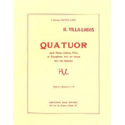 Villa-Lobos, Heitor: Quatuor : pour harpe, celesta, flute, saxophone alto et voix féminines : partition de poche