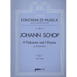 Schop, Johann: 4 Paduanen und eine Pavane : zu 6 Stimmen und Orgel Partitur und Stimmen