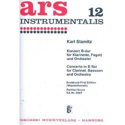 Stamitz, Karl: Konzert B-Dur : für Klarinette, Fagott und Orchester Partitur