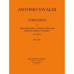 Vivaldi, Antonio: Konzert g-Moll RV103 : für Altblockflöte, Oboe und Fagott Partitur und Stimmen