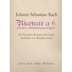 Bach, Johann Sebastian: Ricercar a 6 : für Trompete, Posaune und Orgel Partitur und Stimmen