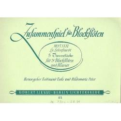 Lehnstädt, Lu: 5 Tanzstücke : für 2 C-Blockflöten und Klavier Partitur und 1 Flötenpartitur