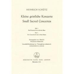 Schütz, Heinrich: Kleine geistliche Konzerte Band 7 : 5 Konzerte für 1-3 Bässe und Bc