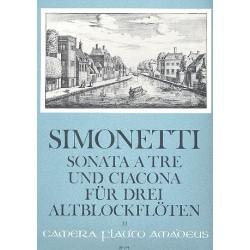 Simonetti, Giovanni Paolo: Sonata à tre und Ciaccona op.8 : für 3 Altblockflöten Spielpartitur