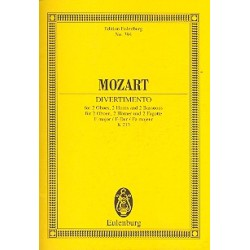 Mozart, Wolfgang Amadeus: Divertimento F-Dur Nr.8 KV213 für 2 Oboen, 2 Hörner und 2 Fagotte Studienpartitur