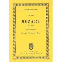 Mozart, Wolfgang Amadeus: Divertimento B-Dur Nr.9 KV240 : für 2 Oboen, 2 Hörner und 2 Fagotte Studienpartitur