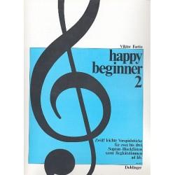 Fortin, Viktor: Happy Beginner Band 2 : 12 leichte Vorspielstücke für 2-3 Sopranblockflöten und Begleitung