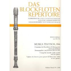 Gerle, Hans: Musica Teutsch 1546 9 Liedsätze für 4 Blockflöten und Laute (Gitarre), Partitur und Stimmen