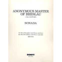 Anonymus: Sonada : für 3 Blockflöten und Bc