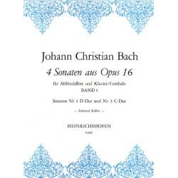 Bach, Johann Christian: 4 Sonaten aus op.16 Band 1 (Nr.1 und 3) : für Altblockflöte und Klavier