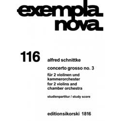 Schnittke, Alfred: Concerto grosso Nr.3 : für 2 Violinen und Kammerorchester Studienpartitur